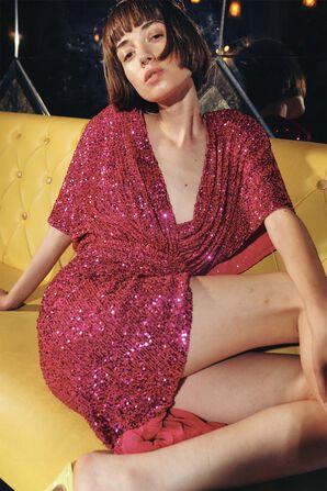 שמלת מידי אסימטרית בגוון ורוד נוצץ GALIA LAHAV