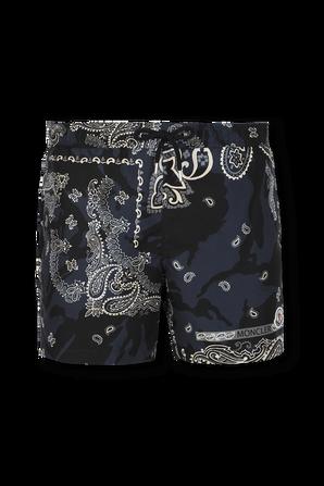 מכנסי גלישה הדפס פייזלי בגווני שחור ולבן MONCLER