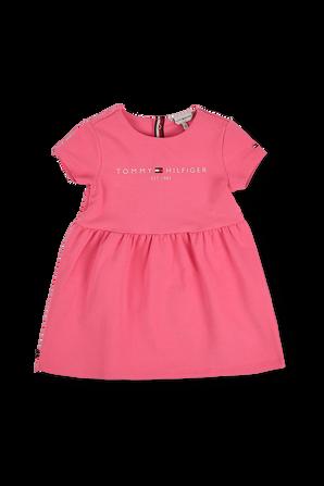 גילאי 0-24 חודשים שמלת סקייטר ורודה עם רקמת לוגו בחזה TOMMY HILFIGER KIDS