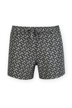 Monogram Print Drawcord Swim Shorts in Grey BURBERRY