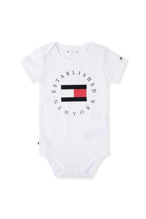 גילאי 0-24 חודשים בגד גוף לוגו בלבן TOMMY HILFIGER KIDS