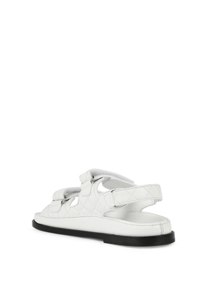 Skull Embellished Quilted Sandals in White PHILIPP PLEIN