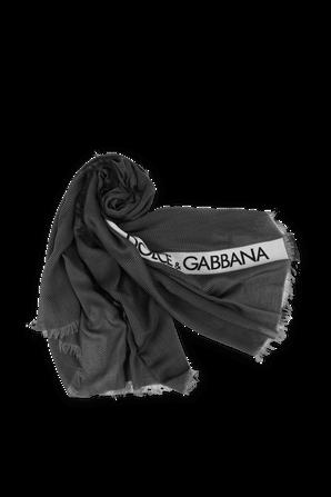 צעיף כותנה ממותג בגווני אפור שחור ולבן DOLCE & GABBANA