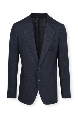 Two Buttons Suit Jacket In Blue Linen With Logo Pocket DOLCE & GABBANA