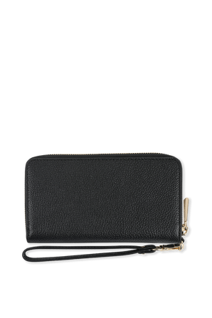 Pebbled Leather Continental Wristlet in Black MICHAEL KORS