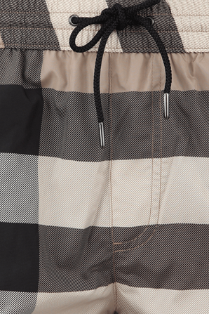 Check Drawcord Swim Shorts in Archive Beige BURBERRY
