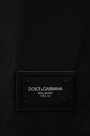 Logo Patch Swim Shorts in Black DOLCE & GABBANA