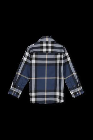 גילאי 3-12 חולצה מכופתרת ארוכה עם הדפס משבצות בגוון כחול BURBERRY