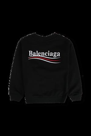 גילאי 4-8 סווטשירט עם לוגו רקום בצבע שחור BALENCIAGA KIDS