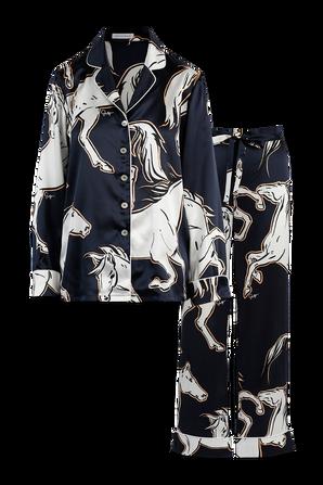 Lila Conte Silk Pyjama in Blue and White OLIVIA VON HALLE