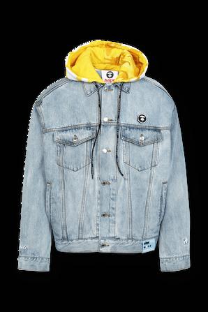 Aape Hoodie Denim Jacket in Light Wash AAPE