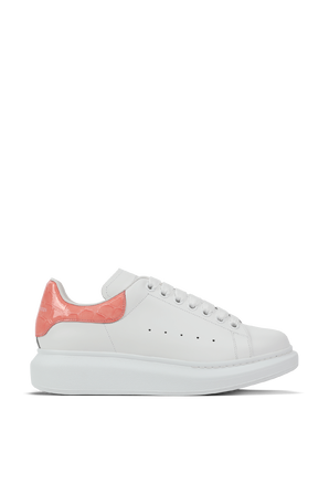 Oversized Sneaker in White and Pastel Pink ALEXANDER MCQUEEN