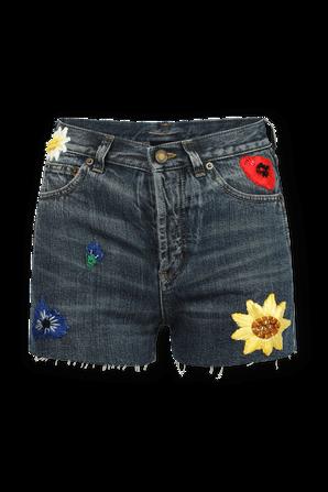 Flower Denim Shorts in Blue Wash SAINT LAURENT