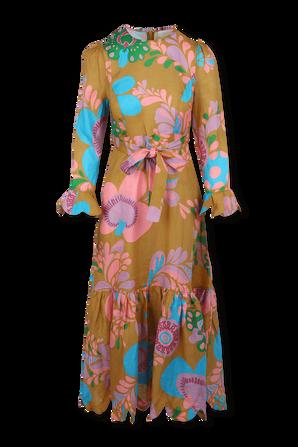 שמלת מידי טדי עם הדפס פרחוני בגווני חום ורוד וכחול ZIMMERMANN