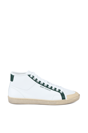 Mid Top Sneakers in White and Green SAINT LAURENT