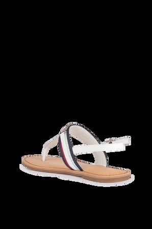 Monogram Flat Sandals in White TOMMY HILFIGER