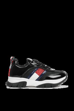 מידות 30-34 נעלי סניקרס בצבע שחור גלוסי עם דגל מנצנץ TOMMY HILFIGER KIDS