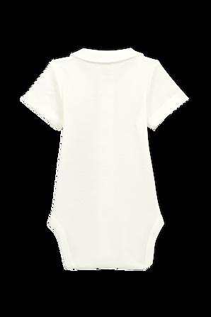 גילאי NB-12 חודשים בגד גוף פולו בלבן PETIT BATEAU