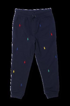 גילאי 2-4 מכנסי טרנינג קצרים כחולים עם לוגו רקום POLO RALPH LAUREN KIDS