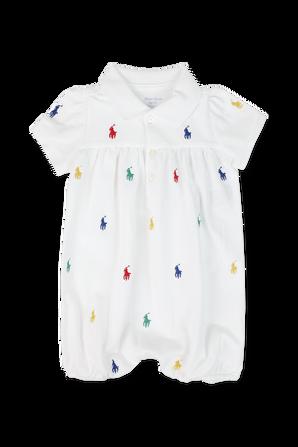 גילאי 3-24 חודישם אוברול לבן עם סמל הפרש בגוונים צבעוניים POLO RALPH LAUREN KIDS