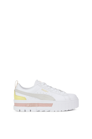 Mayze Leather Sneakers in white and Pink PUMA
