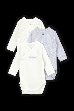 גילאי NB-12 חודשים שלישיית בגדי גוף ארוכים PETIT BATEAU