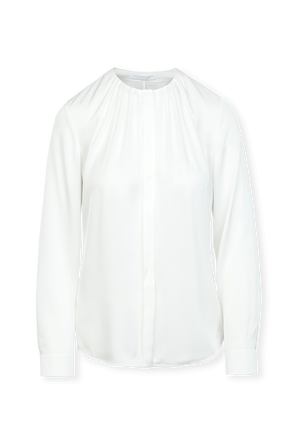 Silk-Blend Blouse With Gathered Neckline in White BOSS