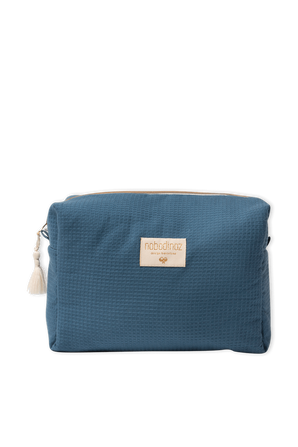 Honeycomb Organic Cosmetic Bag in Blue NOBODINOZ