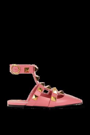 Flat Roman Stud Ballerinas in Pink VALENTINO