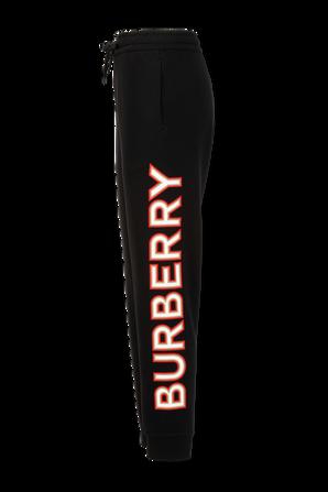 Logo Print Cotton Jogging Pants in Black BURBERRY