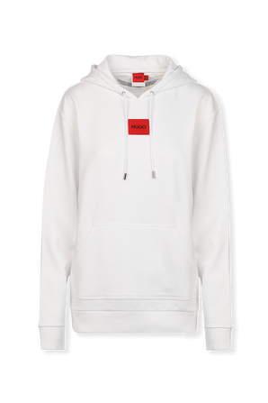 Cotton Hooded White Sweatshirt With Red Logo Label HUGO