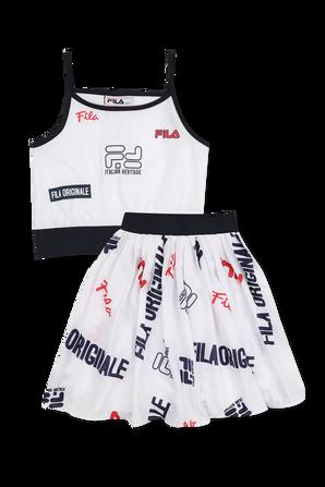 גילאי 6-16 סט הכולל גופייה וחצאית עם לוגו בלבן FILA