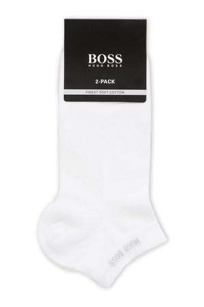2-Pack Short Logo Socks in White BOSS