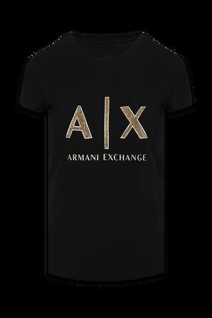 Golden Icon Logo T-Shirt in Black ARMANI EXCHANGE