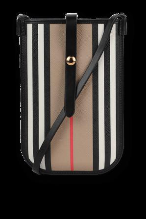 Icon Stripe E-canvas Iphone Case with Strap in Beige BURBERRY