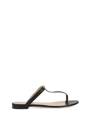 Elba Flat Sndals in Black Leather GIVENCHY