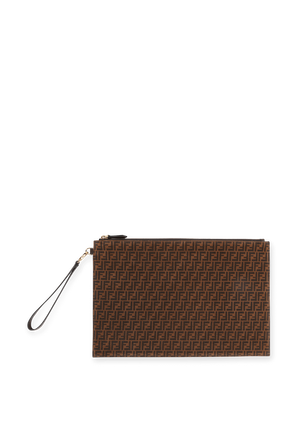 Suede Clutch Bag in Brown FENDI