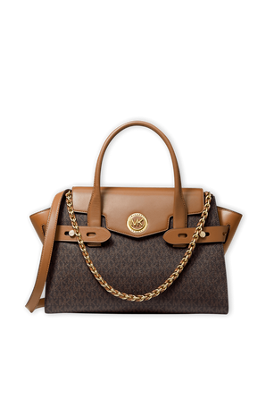 Carmen LG Logo and Leather Belted Satchel in Brown MICHAEL KORS