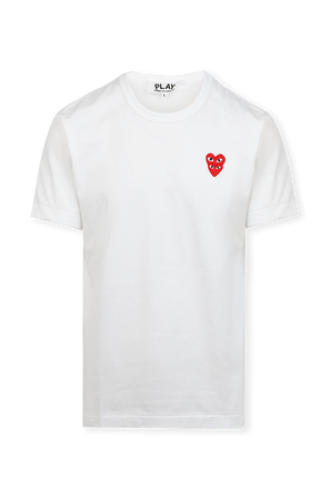 Double Small Hearts T-Shirt in White COMME des GARCONS