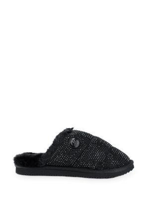 Janis Embellished Faux Fur Lined Slipper in Black MICHAEL KORS