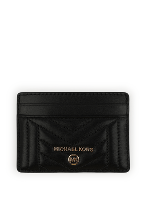 Quilted Leather Card Holder in Black MICHAEL KORS