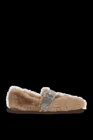 נעלי בלרינה עם רצועת קריסטלים בצבע חום JIMMY CHOO