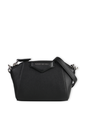 Nano Antigona Bag in Black Grained Leather GIVENCHY