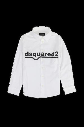 גילאי 4-16 חולצה מכופתרת ארוכה לבנה וממותגת DSQUARED2 KIDS