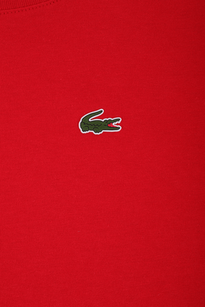 גילאי 2-16 חולצת טי באדום עם פאץ' לוגו LACOSTE KIDS
