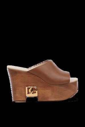 DG Heel Wedge Slides in Brown DOLCE & GABBANA