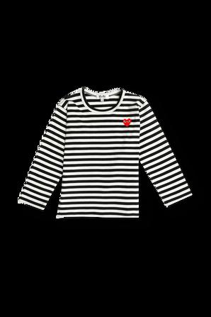 גילאי 2-6 חולצת פסים בשחור עם מיני לוגו COMME des GARCONS KIDS