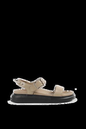 Leather Studs Sandals in Brown ALEXANDER MCQUEEN
