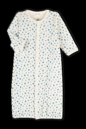 גילאי 1-6 חודשים בגד שינה בלבן עם הדפס ססגוני PETIT BATEAU