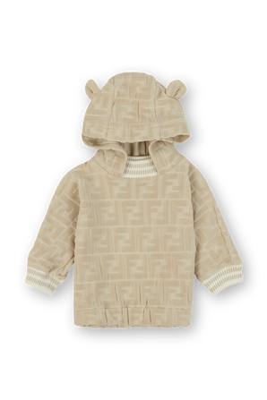 גילאי 1-12 חודשים סווטשירט קפוצון עם טקטסטורת לוגו בשמנת FENDI KIDS
